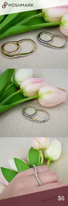 Silver Dainty Pave Double Ring Price firm. Unique and beautiful on the fingers. Please note some are more curvy than others. Some may have imperfections, they are not perfect!  🌸  Look closely at the photos to know what exactly you are receiving and the condition that it's in!  Smoke/Pet free home. Bundle 2+ of my items to save 15%.  I do not trade or hold items.  Check out my websites on my profile! Jewelry Rings