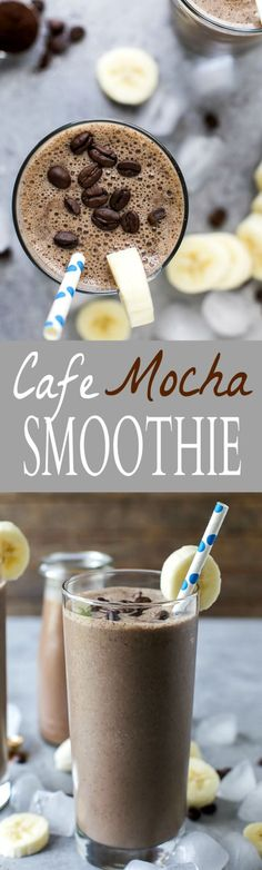 Cafe Mocha Smoothie a delicious way to start your morning. This Mocha Smoothie is made with banana, yogurt, espresso, and chocolate almond milk. Packed with 30 grams of protein per serving!