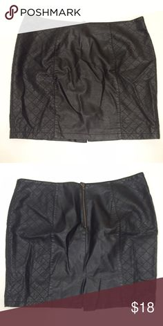 """Look of Leather Plus Size Pencil Skirt Quilted detail on the sides and flat in the middle to create a very flattering optical illusion bringing the eye vertical... Such a cute skirt and only worn once! Fully lined too! Pictures don't do this justice! Exposed zipper and 4.5"""" slit in back. Small tear in lining as shown in last picture - does not affect wearability and also not visible. Overall length is 19"""". Waist flat is 20.5"""". Not leather, just meant to look like it! Forever 21 Skirts"""