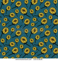 Sun flower pattern seamless background. Summer floral vector illustration.