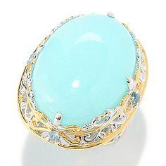 Gems en Vogue 25 x 18mm Peruvian Opal & Gemstone Ring