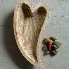 Heart Shaped Wood Bowl