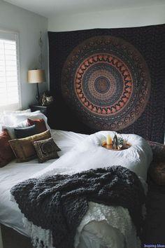 Image of autumn mandala tapestry bedroom decor boho, boho teen bedroom, college bedroom decor Boho Bedroom Decor, Boho Room, Bedroom Ideas, Cozy Bedroom, Bedroom Designs, Bedroom Inspiration, Bohemian Bedrooms, Bedroom Lighting, Bohemian Bedding