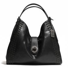 Madison Grommets Large Carlyle Shoulder Bag in Leather