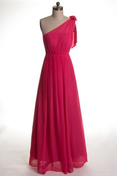4390f40b864e Simple One-shoulder Chiffon Floor Length Bridesmaid Dress  TBQP137  -   151.00   Custom Made Wedding
