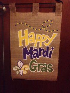 Mardi Gras Burlap garden flag