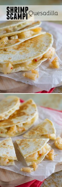 Shrimp Scampi Quesadillas - As an easy dinner or quick lunch, this Shrimp Scampi Quesadilla Recipe is a great change up to your routine, and they are packed with flavor and only 4 ingredients!