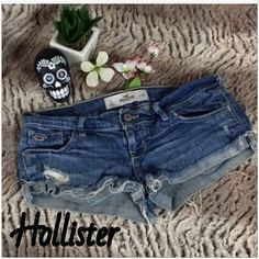 EUC- Hollister Distressed Jean Shorts No flaws, great for this season Hollister Shorts Jean Shorts