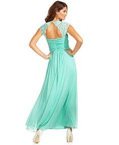 Xscape Dress, Cap-Sleeve Lace Pleated Sweetheart Gown - Dresses - Women - Macy's