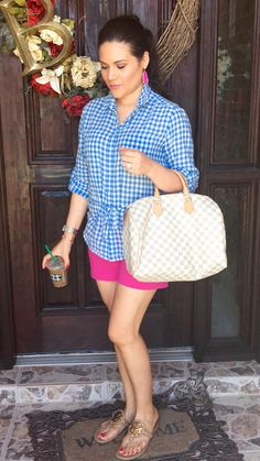 Summer | weekend outfit | ideas | casual | gingham | shirt | joe fresh | blue | white | pink gap shorts | chinos | hot pink | nude | Tory burch | miller 2 | sandals | gold | Louis Vuitton | speedy 35 | damier azur | Kendra Scott | Danielle  earrings | magenta | outfit | Starbucks | skinny caramel macchiato | mommy outfit | style | preppy