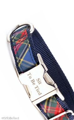 Blue plaid dog collar. Perfect for winter or Christmas. Tartan plaid collar for dogs