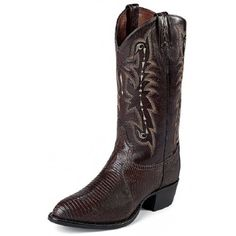 Tony Lama Men's Cowboy Boots Chocolate LizardFoot: Chocolate Lizard FootTop: 13 Inch High Matching TopToe: Medium Round �Z/R�Heel: 1 5/8 Inch �4� Combination HeelInsole: Cushion ComfortOutsole: Leather OutsoleThis Men's Cowboy Boot from Tony Lama features a medium round western dress toe. Chocolate Lizard makes for an amazing Dress Cowboy Boot that looks great with a suit or y...
