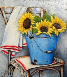 Art by Stella Bruwer blue enamel bucket sunflowers white towels with red stripe on old chair Tole Painting, Watercolor Paintings, Watercolours, Stella Art, Creation Photo, Sunflower Art, Painting Lessons, Vintage Flowers, Love Art
