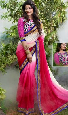 Add grace and charm to your appearance in this beige and fuchsia color chiffon embroidered sari. The wonderful attire creates a dramatic canvas with remarkable lace work. #GorgeusDesignOfChiffonSari