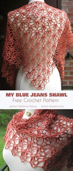 crochet scarves My Blue Jeans Shawl Free Crochet Pattern Poncho Au Crochet, Crochet Shawls And Wraps, Crochet Scarves, Crochet Clothes, Free Crochet, Lace Shawls, Knit Cowl, Free Lace Crochet Patterns, Crochet Shrugs