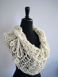 Cream Pearls Handknitted Lacy Cowl Capelet Infinity Scarf Ponchowith Crocheted Cord