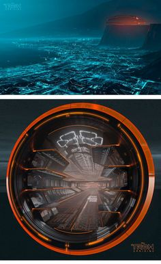 Concept art of the city of Argon in Tron Uprising, also featuring Tesler's ship.