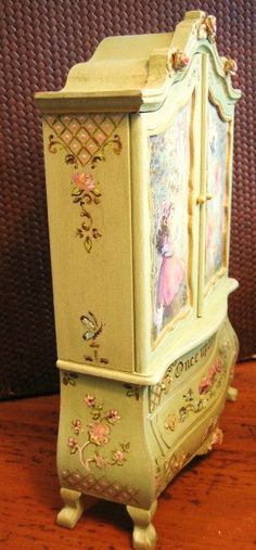 Jill Dianne -  Hand-painted Finding Fairies Baby House Cupboard - Dollhouse Miniatures...