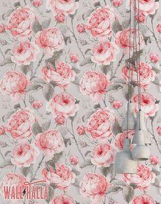 Vintage Pink Rose Wallpaper Removable Wallpaper Vintage