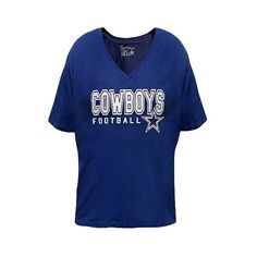 Dallas Cowboys Women's Plus Size Shimmer Team Logo V-Neck T-Shirt ($28) ❤ liked on Polyvore featuring plus size women's fashion, plus size clothing, plus size tops, plus size t-shirts, multicolored, plus size, pattern t shirt, women's plus size shirts, t shirt and polyester t shirts