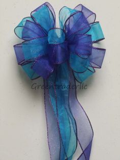 Purple Blue Peacock Wedding Pew Bow Aqua Blue by greentraderllc, $10.00