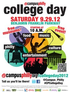 Celebrate College Day 2012 with Music, Food, Art & Culture, Entertainment at Benjamin Franklin Parkway. Saturday, Sept 29, 10 am – 4 pm  #SEPTA Routes: 17, 27, Broad Street Line, and Trolley 10.