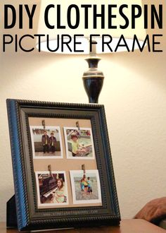 Old picture frame without the glass hot glue string from side to repurpose a thrift store picture frame into a diy clothespin picture frame to display some of solutioingenieria Gallery
