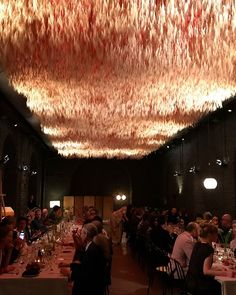 by eerokoivistoThis is a ceiling made of hanging wheat (!) that apparently took three months to make. From the Kvadrat dinner during the Milan design week. Hanging Centerpiece, Milan Design, Gaudi, Pop Up, Bakery, Ceiling, Japanese, Interior Design, Architecture