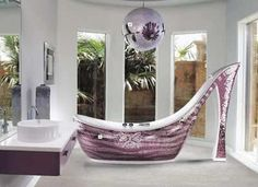 Shoe shaped #bathroom #bath...a shower Yes..Please !!! its really lovely!!