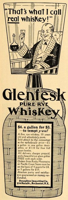 1905 Ad Donoghue Importing Co Glenfesk Rye Whiskey Original Advertising | eBay