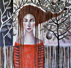 Painter Ingrid Tusell Domingo Mixed Media Figurative Art, Artist Study for Art School Students, CAPI. Abstract Portrait, Portrait Art, Abstract Art, Portraits, Selling Art Online, Online Art, Figure Painting, Painting People, Woman Painting