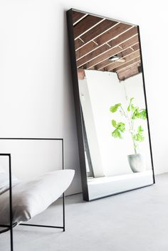 "45""W + 4""D + 84""H INDUSTRIAL STEEL + MIRROR POLY FINISH //CUSTOMIZE THIS PIECE This Mirror is Custom Made in Los Angeles. Welded industrial steel frame, mirror cut to size. Care + Maintenance"