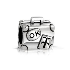 Bling Jewelry 925 Sterling Silver Traveler's Luggage Charm Bead Fits with Pandora Beads and Bracelet Bling