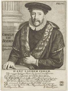 Godfried Schalcken | Portret van Cornelis van Beveren, Godfried Schalcken, 1677 | Portret van de Dordtse burgemeester Cornelis van Beveren. Hij draagt een met bont afgezette mantel, een plooikraag en een baret. In zijn linkerhand draagt hij een paar handschoenen(?). Links achter hem staat een zuil. Op de sokkel onder de zuil staat de naam van Van Beveren met zijn geboorte- en sterfjaar. Onder de voorstelling een éénregelige Latijnse uitspraak en daaronder een achtregelig, Nederlands lofdicht…