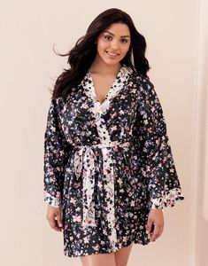 Look oh-so-chic in a floral satin kimono robe that's both playful and charming — you'll want to wear it Camo Hoodie, Bra And Panty Sets, Manolo Blahnik, New Fashion, Catwalk, Plus Size, Lingerie, Style Inspiration, Outfits