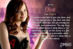 I took the Emma Stone character quiz and I'm 'Easy A' Emma Stone! Who are you? #ZimbioQuiz