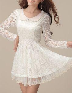 dress white dress white cute dress cute collared dress peter pan collar short dress