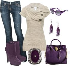 """Purple and Neutral Sweater and Jeans Outfit"" by alerogirl ❤ liked on Polyvore"