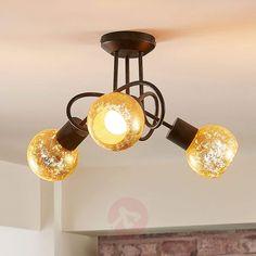 Retro, Vintage, Antik Lampenwelt Strahler Daniela dimmbar Deckenleuchte Spot in Braun aus Metall u.a 2 flammig, E27, A++ Wohnzimmerlampe Lampe - Deckenlampe f/ür Wohnzimmer /& Esszimmer