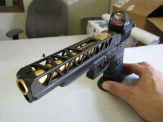 Sick slide cuts on this custom Glock Custom Glock, Custom Guns, Revolver, Glock Mods, Fire Powers, Cool Guns, Guns And Ammo, Tactical Gear, Shotgun
