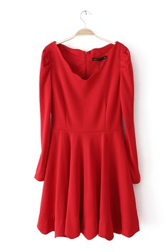 Red Petal Skirt Long Sleeves Dress. I would definitely love to wear this for Christmas with curls in my hair