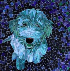 Blue Green Happiness Custom Order Stained Glass Mosaic Pet Portrait by PiecefulArts,  16x16
