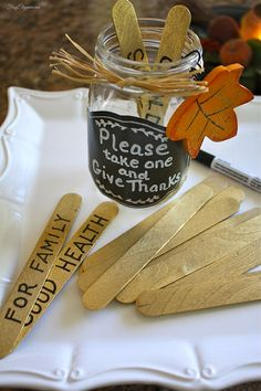 Bringing in a new tradition- Pre Thanksgiving Dinner everyone writes, on the stick what they are thankful for. When seated for dinner, the jar is passed around the table & everyone picks a stick to read out loud. #thanksgivingdecor #thanksgivingideas