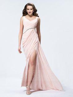 #Valentines #AdoreWe #DressWe - #DressWe Polished Sheath Straps Pleats Crystal Split-Front Floor-Length Evening Dress - AdoreWe.com