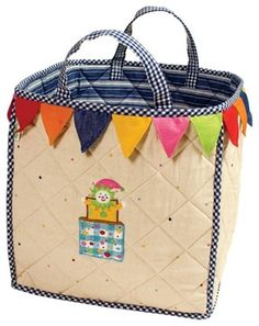 jack-in-the-box appliqued & embroidered cotton storage bag