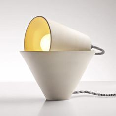 Two ceramic cones form Mia table lamp by Federica Bubani Bedside Table Lamps, Ceramic Table Lamps, Interior Lighting, Lighting Design, Contemporary Light Fixtures, Ceramic Light, Luminaire Design, Creativity And Innovation, Pretty Lights