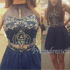 2016 cute round neck deep blue sequins prom dress for teens, homecoming dress, prom dresses short #coniefox #2016prom