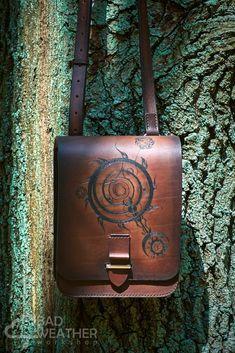 Bag created based on a series of games The Elder Scrolls. #bag #TSE #TheElderScrolls #leatherbag #leather #skyrim #oblivion #morrowind #daedric #daedricsymbols #handmade #forest #games #leatherwork #cosplay #genuineleather #brown #handpainted #badweatherworkshop