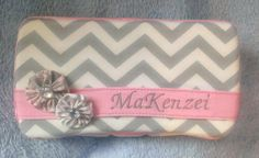Gray Chevron with Pink Accents Diaper Wipes Case on Etsy, $12.95