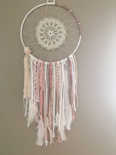 Large Dream Catcher Bohemian gift for her, Boho stale Pink Mint Dreamcatchers Talisman amethyst stone Wall wedding decor Boho wall hanging - Grand Dream Catcher, Large Dream Catcher, Dreams Catcher, Los Dreamcatchers, Doily Dream Catchers, Wedding Wall Decorations, Decor Wedding, Wedding Ideas, Creation Deco